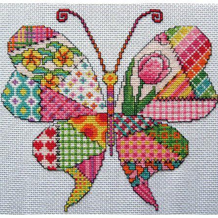 Patchwork Butterfly Cross Stitch Pattern. PDF Instant Download von Chartsandstuff auf Etsy https://www.etsy.com/de/listing/191965240/patchwork-butterfly-cross-stitch-pattern