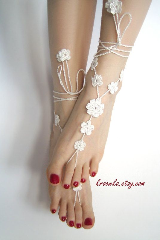 Barefoot Sandals WHITE BIG FLOWER, holiday foot jewelry, beach wedding accessory. $19.00, via Etsy.