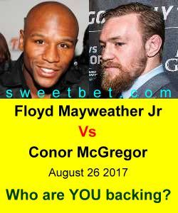 Are you ready for the fight of the century?  Floyd Mayweather Jr Vs Conor McGregor  August 26 2017  Place your bet at Sweet Bet