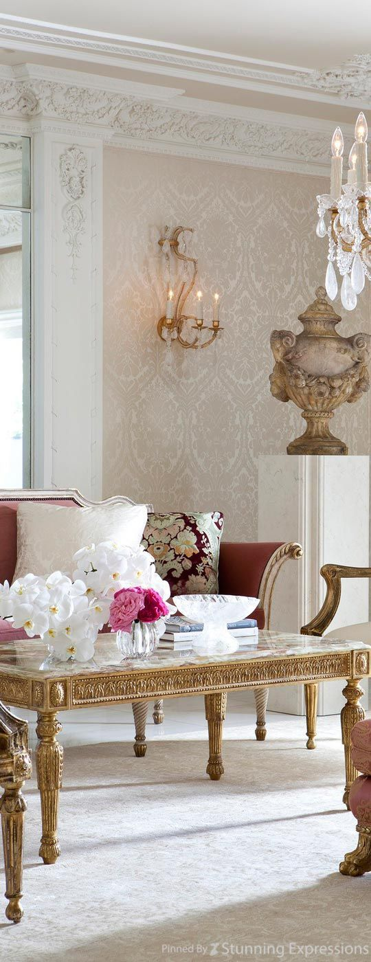 The moulding and wallpaper