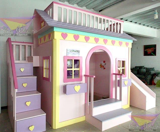 Busca imágenes de diseños de Habitaciones infantiles estilo : Casita litera para niñas de corazones. Encuentra las mejores fotos para inspirarte y y crear el hogar de tus sueños.
