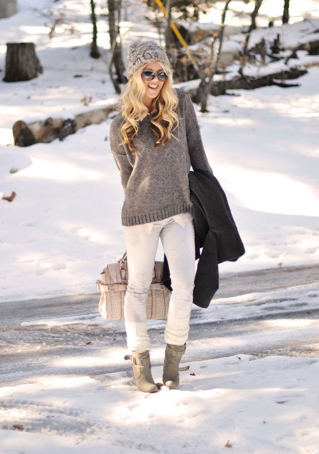 Add a breathe of fresh air to your winter darks with white denim and light neutral colored knits.