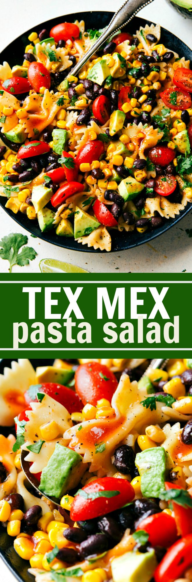 A delicious and super simple Tex Mex Pasta Salad with corn, black beans, cherry tomatoes, and avocados. An easy Catalina dressing tops this salad. Recipe via chelseasmessyapron.com