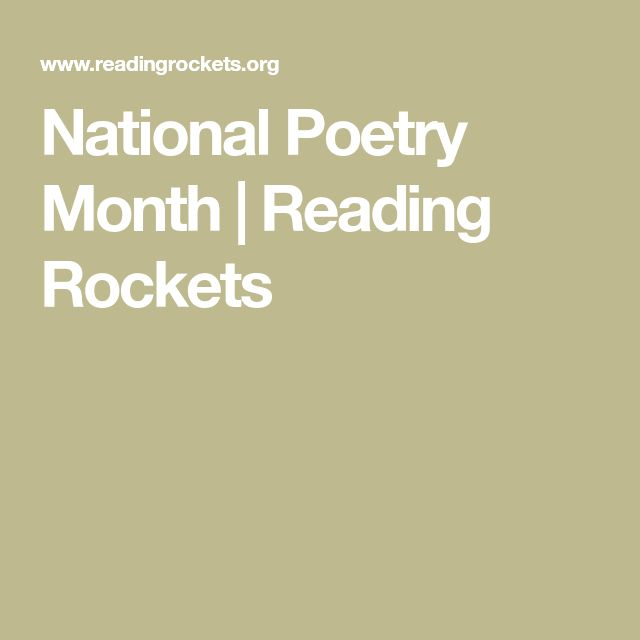 National Poetry Month | Reading Rockets
