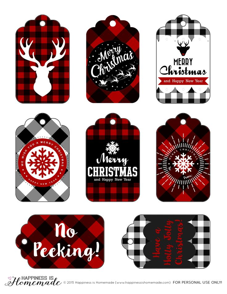 Buffalo Check Plaid Printable Gift Tags - These free printable buffalo check plaid gift tags are perfect for all of your Christmas and holiday gifts! There's also a cute deer head print for your holiday decor!