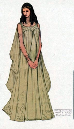 concept art for padme's aqua nightgown episode 3