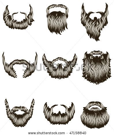 stock vector : Set of hand drawn beards