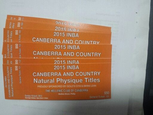INBA Canberra & Country Natural Physique Titles - all day admission tickets $50 from Flexr6. Any ACT resident who joins Team Flexr6 for their next competition preparation receives one complimentary ticket as part of their comp prep package.