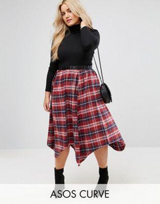 ASOS CURVE Check Midi Skirt