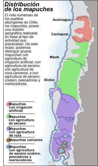Distribución de los mapuches. (de rev.Icarito)