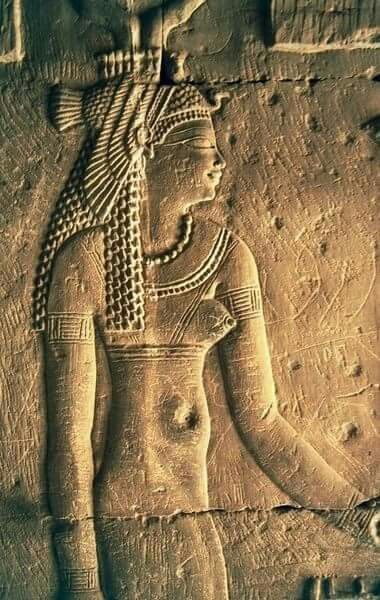 Relief of Goddess Hathor at the Temple of Sobek and Haroeris, Kom Ombo,Egypt.