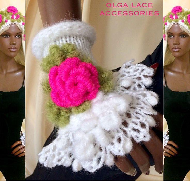 Купить Кружевные манжеты с объёмными розочками рококо от Olga Lace - вязаные манжеты, манжеты