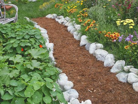 mulch & rock pathways | Marianne Simon Poetic Plantings Landscape Design and Water Gardens