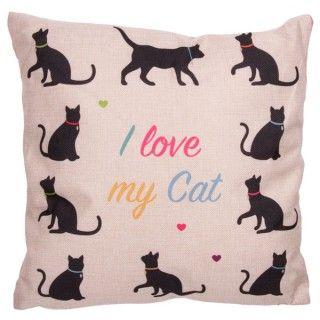 Cojin con diseños de gatos con relleno. #cojindegatos #cojinyute