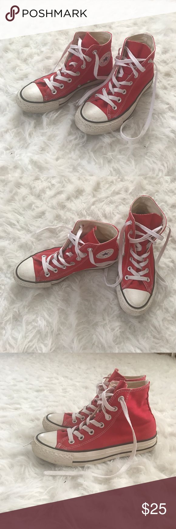 Red high top sneaker shoes White laces, Logo patch detail, very comfortable, size 4 in men's Converse Shoes Sneakers