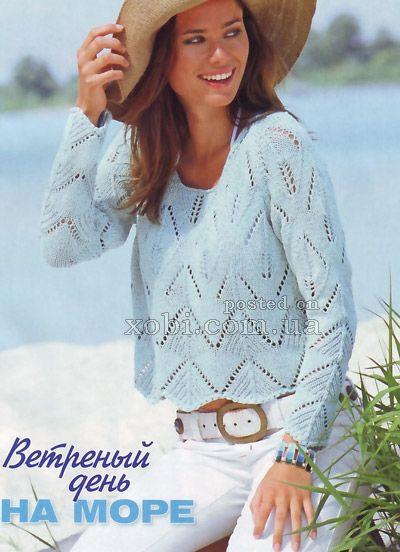 ажурный пуловер с рукавом реглан