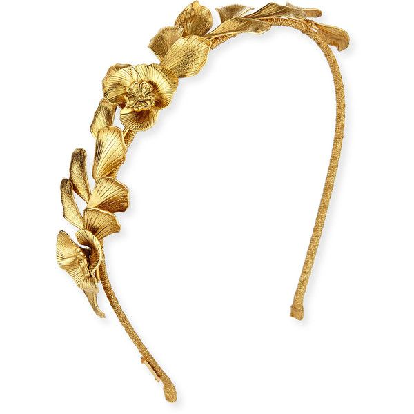 Jennifer Behr Flower Petal Metal Headband (1.350 RON) ❤ liked on Polyvore featuring accessories, hair accessories, gold, wrap headbands, jennifer behr, ribbon headband, flower headband and hair bands accessories