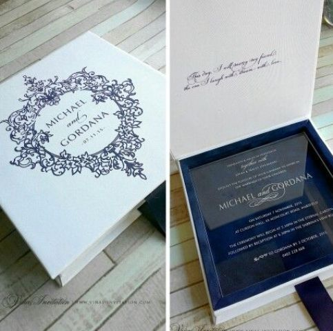 exquisite pure acrylic invitation in a box, navy velvet inside