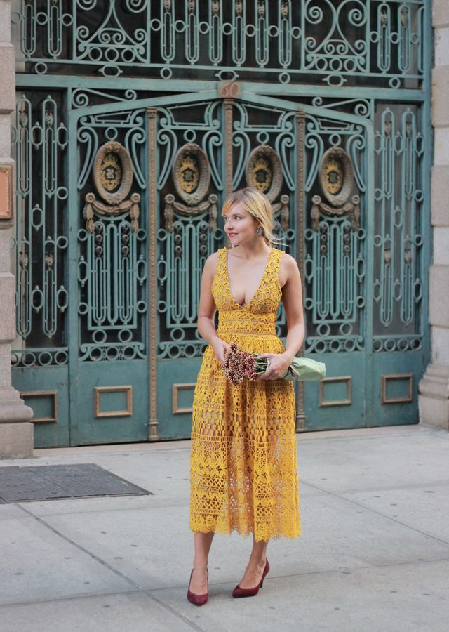 The Steele Maiden: Fall Wedding Guest Style - marigold lace midi dress and burgundy suede pumps