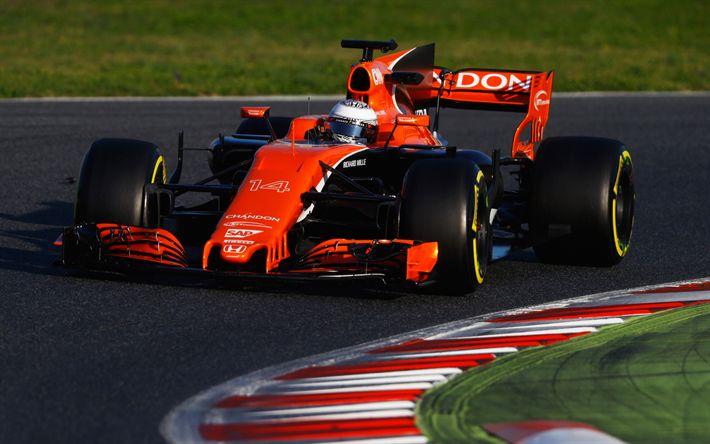 Download wallpapers Fernando Alonso, 4k, Formula 1, racing car, Spanish racer, McLaren MCL32, McLaren Honda, British Formula One team