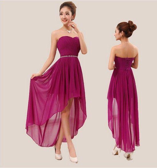 2017 Custom All Color and Size long back short front Purple Royal Blue bridesmaid dress cheap bridesmaid dresses under 50