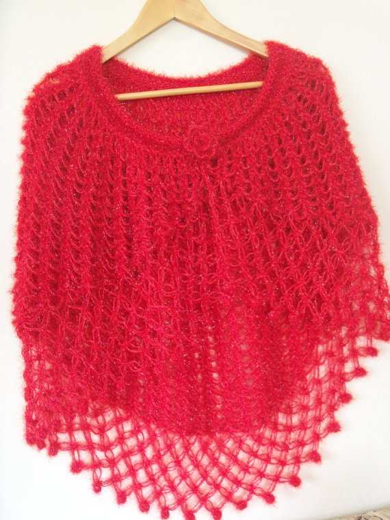romantic feel red silvery shawl by colourfulrose on Etsy, $79.90