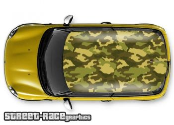 Forest camouflage - printed and laminated (air release) vinyl car roof graphics.