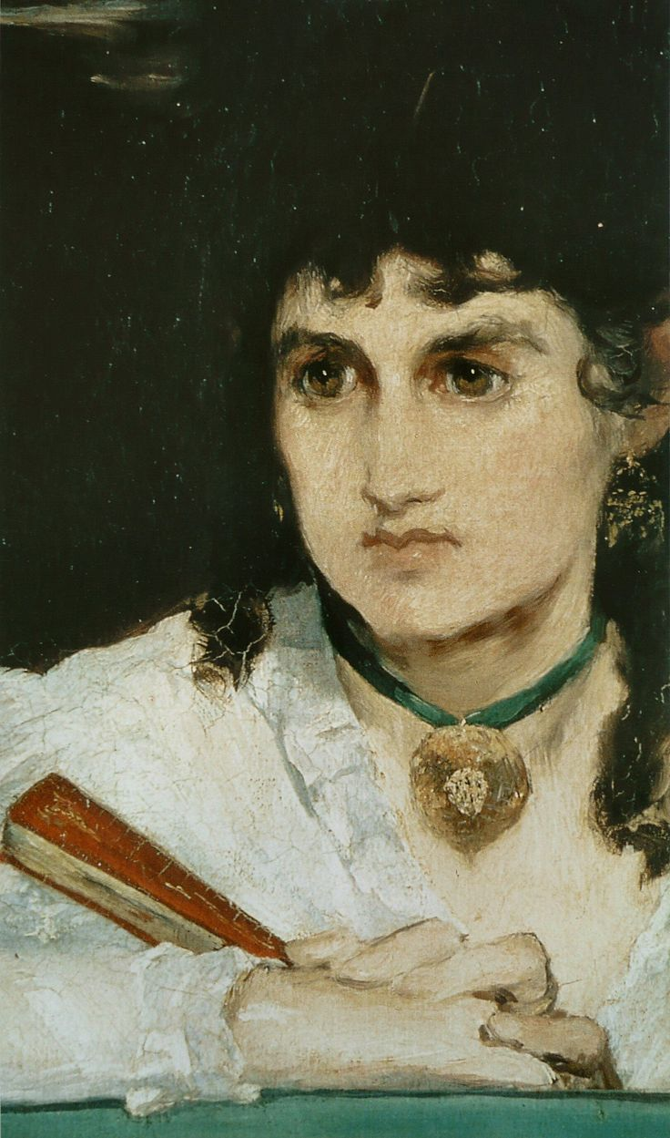 Detail of painter Berthe Morisot(wife of Manet's brother Eugene) in The Balcony (1868-1869). Berthe wrote at the time about the painting, 'I am more strange than ugly'.