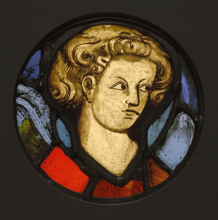 Title: Head of a Young Man  Artist/Maker(s): Unknown maker, French or Belgian  Culture: French or Belgian  Place(s): Cambrai - Tournai (?), France or Belgium (Place created)  Date: about 1320 - 1330  Medium: Pot-metal and colorless glass, vitreuos paint, and silver stain; lead came  Dimensions: 21 x 1 cm (8 1/4 x 3/8 in.)