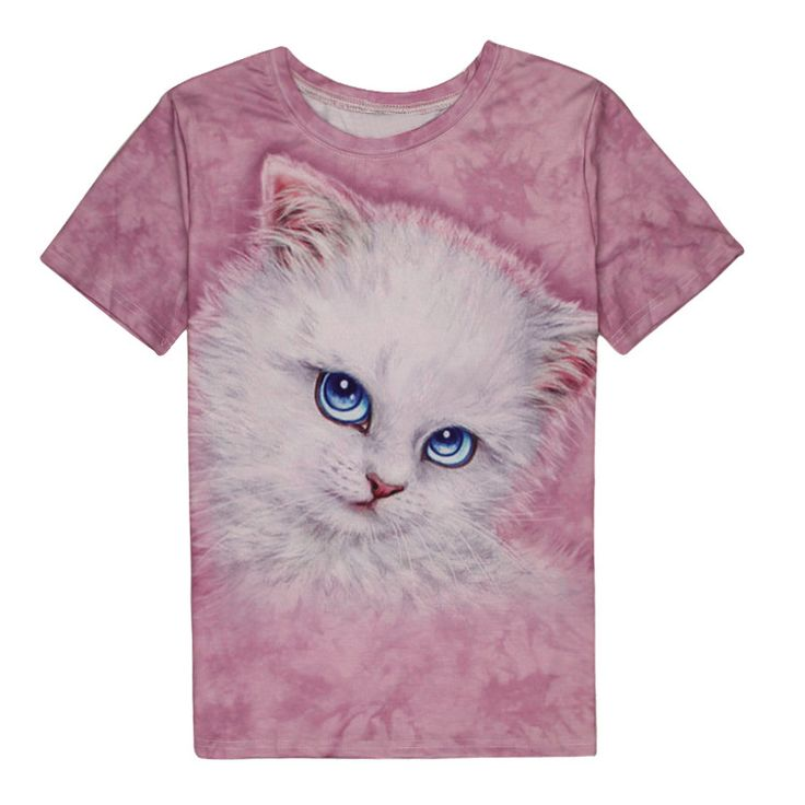 Cute Kitty 3D Print T-shirt Cotton Unisex Tee Shirts Women Cat  Short Sleeve Casual Homme Loose Summer Tops camisetas mujer Plus