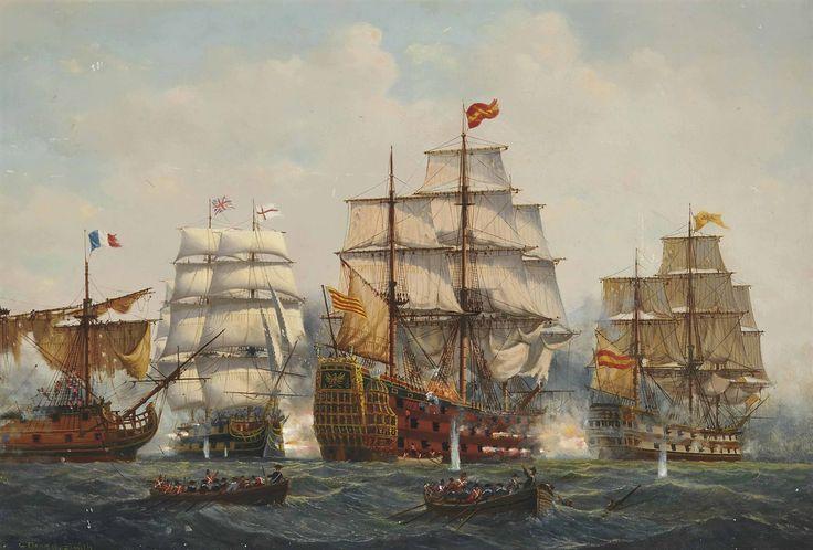 Spanish flagship Santissima Trinidad at Trafalgar