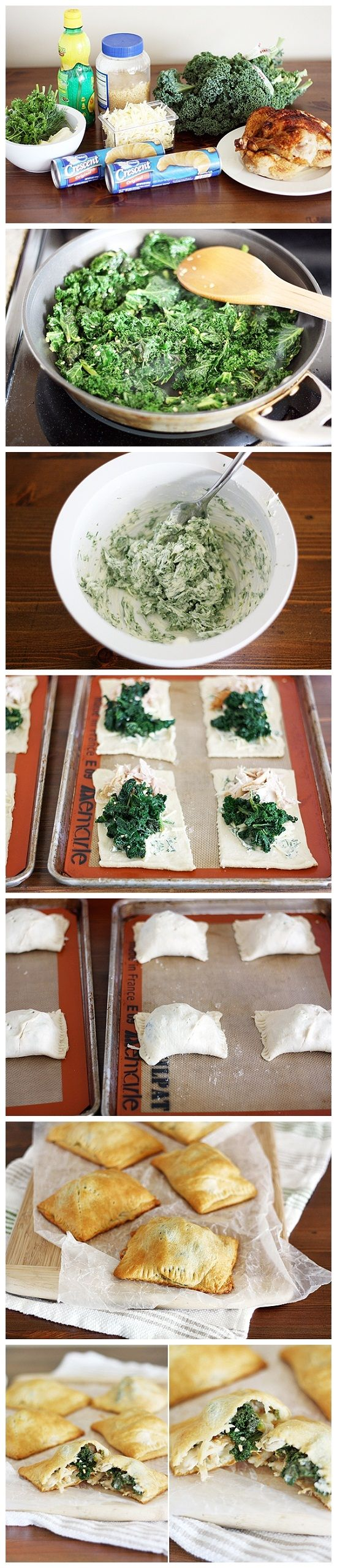 Chicken Kiev and Kale Pockets - 1 bunch kale, washed and stems removed - 2 teaspoons minced garlic - 1 teaspoon lemon juice - salt and pepper to taste - 5 tablespoons butter, softened - 2 tablespoons chopped dill - 2 tablespoons chopped parsley - 2 tablespoons chopped chives - 2 cans Pillsbury crescent rolls - 1 1/2 cups shredded white cheddar cheese - 2 cups shredded rotisserie chicken