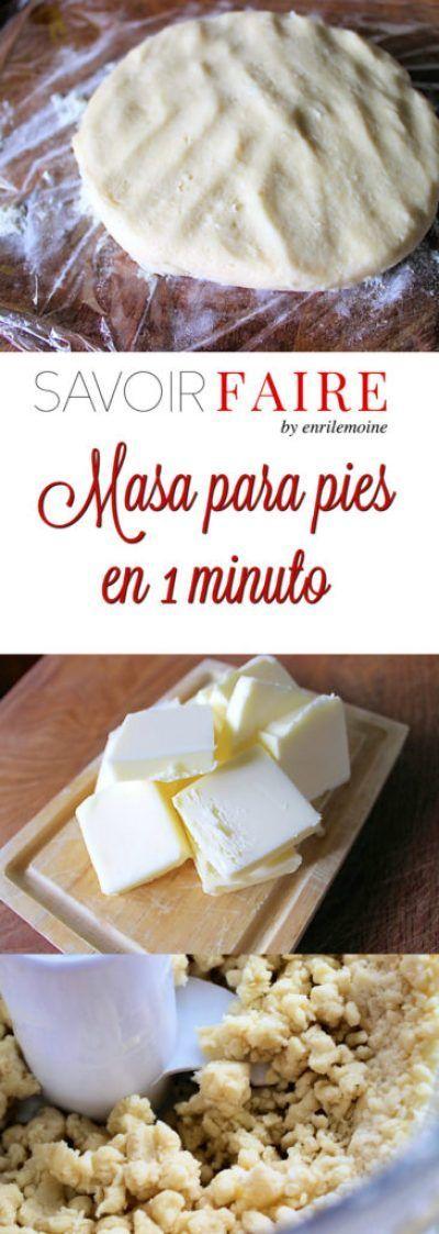 Con esta receta, en apenas 1 minuto podrás hacer una masa para pies y tartas, dulces y saladas, flexible y muy fácil de manejar. Haz clic para ver cómo se prepara, paso a paso.