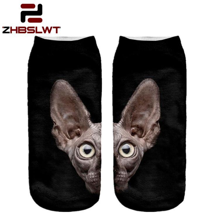 Zhbslwt 3d baskı hayvan sphynx cat kadın çorap calcetines rahat sevimli karakter low cut ayak bileği çorap çoklu renkler harajuku