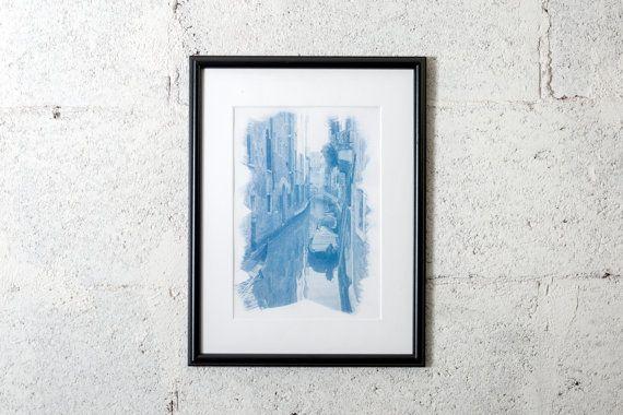 Canals of Venice (Italy), cyanotype print. #cyanotype #print #art #artdeco #walldeco #cottagedeco #venice  #italy  #madeinitaly