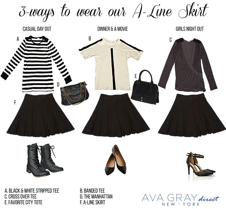 """Our A-line skirt is the perfect """"dress up"""" or """"dress down"""" staple for your closet! Wear it with our casual long sleeve stripped shirt for a more edgy look or with our banded tee for a more girly vibe  #AvaGrayDirect #FashionTips #StyleGuide #ootd"""