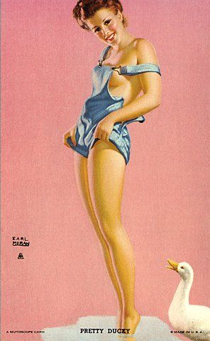 """Pretty Ducky"" ~ 1940s Cigarette card pin-up by Earl Moran."