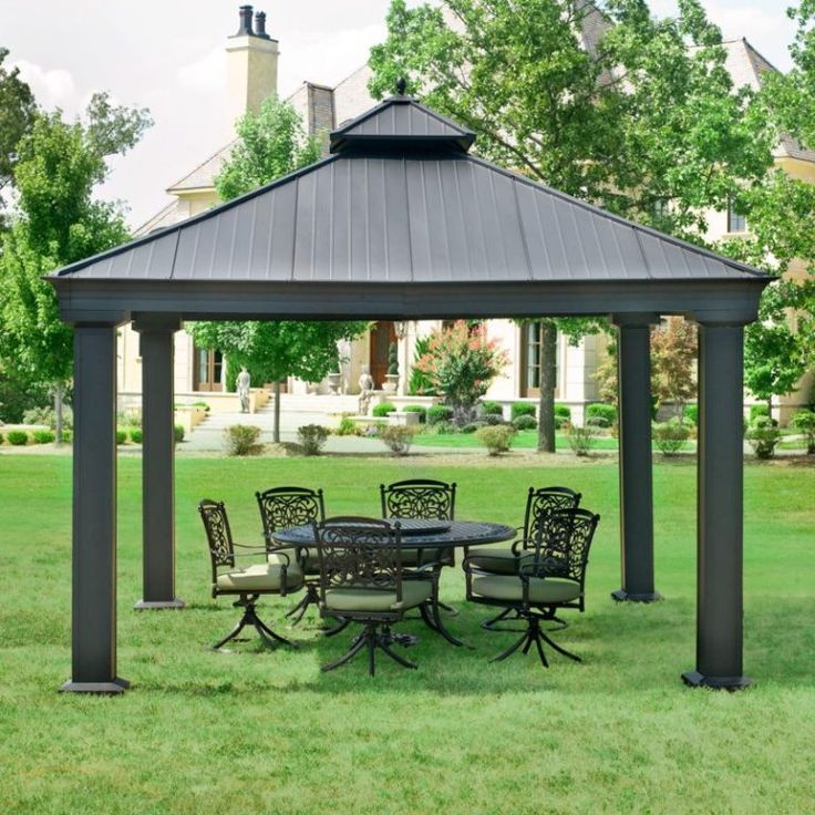 Have A Lovely Afternoon With Your Family In The Shade Of This Beautiful Outdoor Metal Gazebo New Hardtop X Canopy Patio Grill