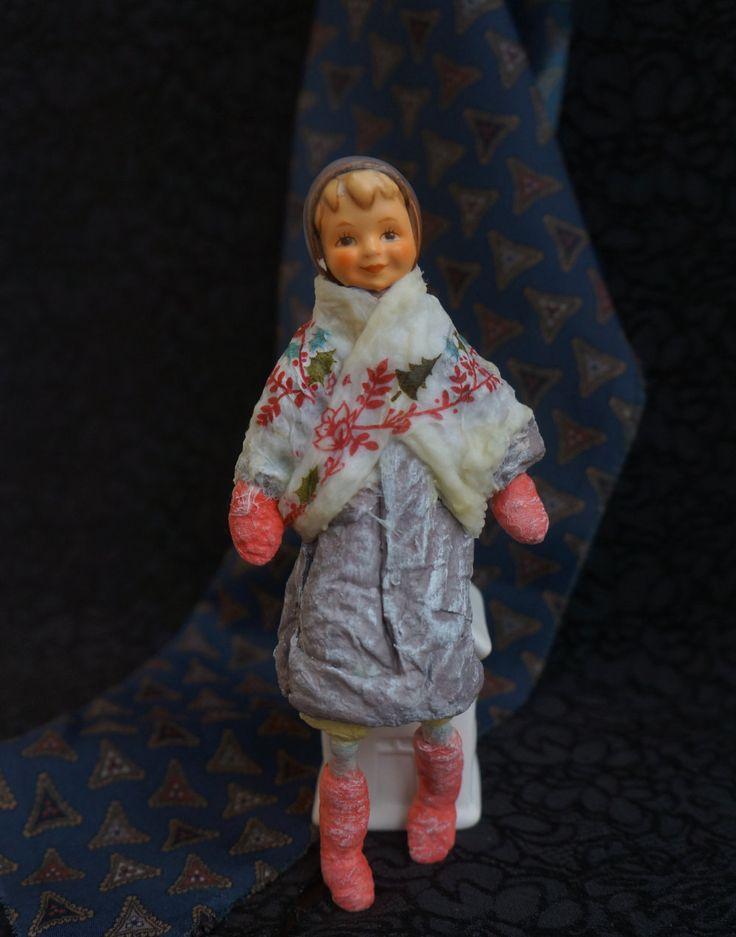 Cotton Batting Christmas Ornament - Spun Cotton Vintage Style - Girl Hummel - Handmade Personalized Aged Cotton Batting Ornament by RussianshawlRustic on Etsy