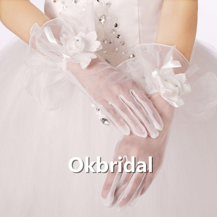 2016 белого кружева наручные с белыми цветами пальцев свадебные перчатки свадебные перчатки один размер свадебные перчатки бесплатная доставка