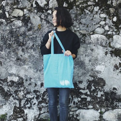 last one! indigo dyed cotton tote hand printed with white floral pattern