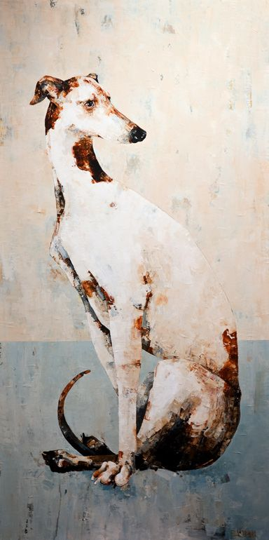 I've been in love with full-sized greyhounds since my trip to Italy - their ancestors are portrayed in all the artwork there, where they look so regal. Retired racing dogs always need rescue homes!                                                                                                                                                     More
