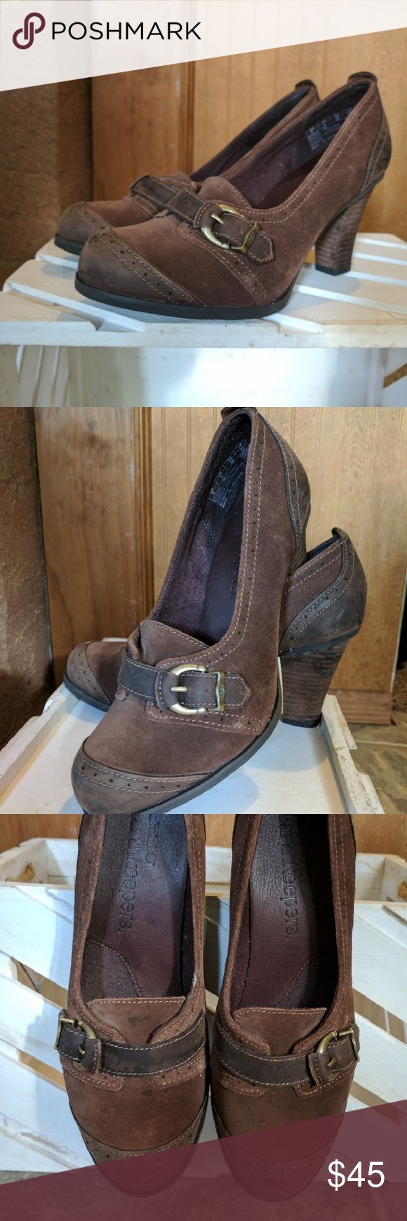 Timberland Earthkeepers ~ heels Brown Timberland Earthkeepers with buckle.  Super cute and comfortable!  Never worn outside home. Timberland Shoes Heels