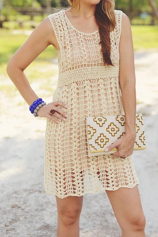 Open Knit Dress or Cover Up in Cream   Häkelkleidung   Pinterest ...