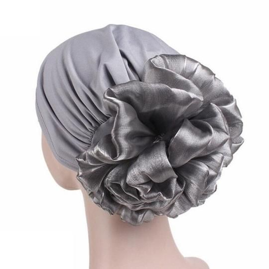 Turban Head Wrap Solid Fitted Big Flower Hat