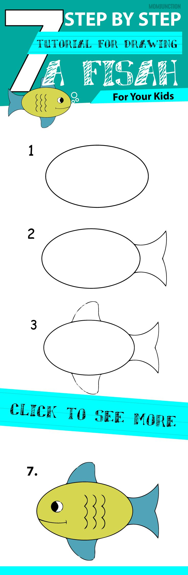 here is a drawing lesson that helps you teach how to draw a fish for kids - Simple Drawing For Children