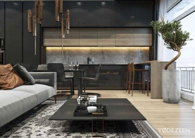 Modernidad con tintes de lujo en esta #casa en gris y negro.