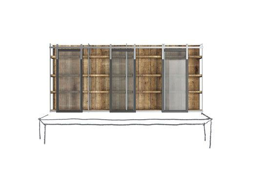 La cucina componibile Brera 76 è in vero legno massello, cucina angolare in stile moderno industrial caratterizzata dal vetro lavorato e dalle piastrelle.