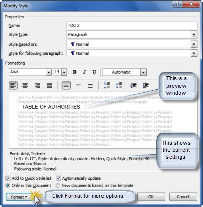 how to create a table of contents in word automatically