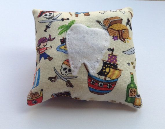 Tooth Fairy Pillow in Pirate Themed Fabric by BellaandRoo on Etsy